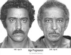 Age progression drawing of a man with photo on the left