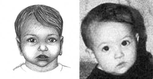 Postmortem drawing of an infant with photo on the right